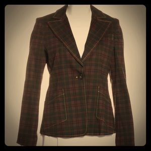 🔥 Derek Lam 10 plaid blazer with notched lapels
